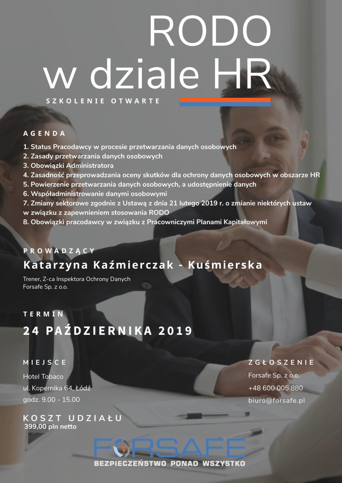 Aktualizacja szkolenie HR RODO w dziale HR