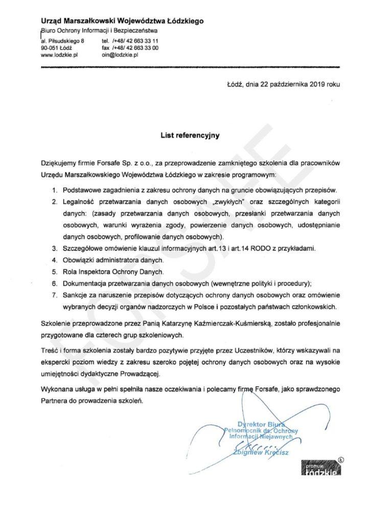 <p>Przeprowadzenie zamkniętego szkolenia dla Urzędu Marszałkowskiego</p>