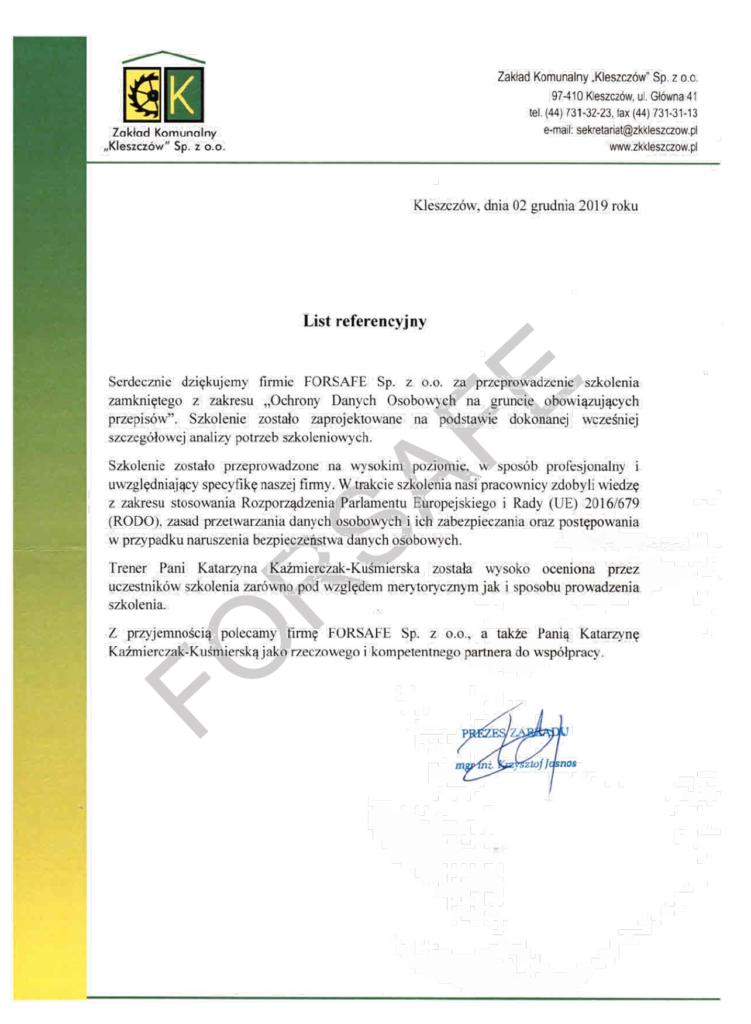 """<p>Przeprowadzenie zamkniętego szkolenia z zakresu ochrony danych osobowych dla Pracowników Zakładu Komunalnego """"Kleszczów"""" Sp. z o.o.</p>"""