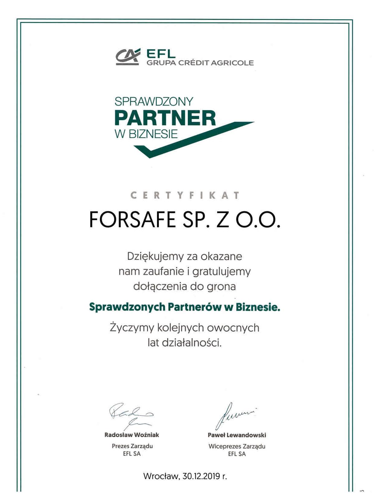Certyfikat Sprawdzony Partner EFL FORSAFE Sprawdzonym Partnerem w Biznesie