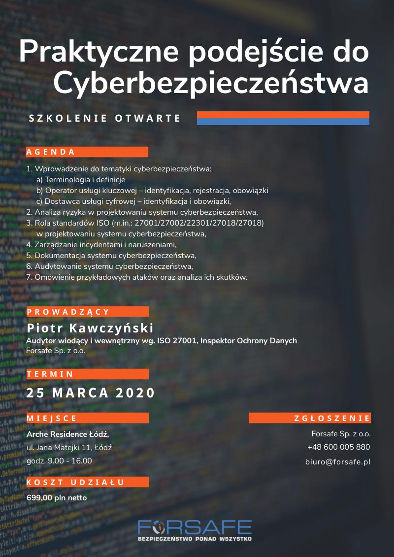 Szkolenie Cyberbezpieczeństwo 25.03.2020 r. Praktyczne podejście do cyberbezpieczeństwa