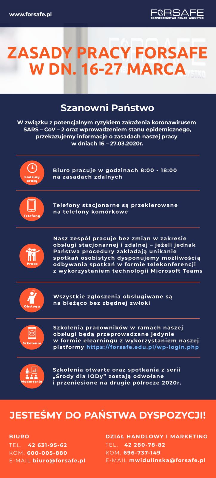 Zasady pracy Forsafe Zasady pracy FORSAFE w dn. 16 - 27 marca, w związku z wprowadzeniem stanu zagrożenia epidemicznego w Polsce.