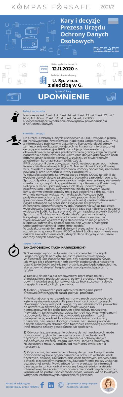 Kompas FORSAFE PL 2021 2 KOMPAS FORSAFE PL 2021/2 - Upomnienie dla Spółki U. Sp. z o. o. w G.