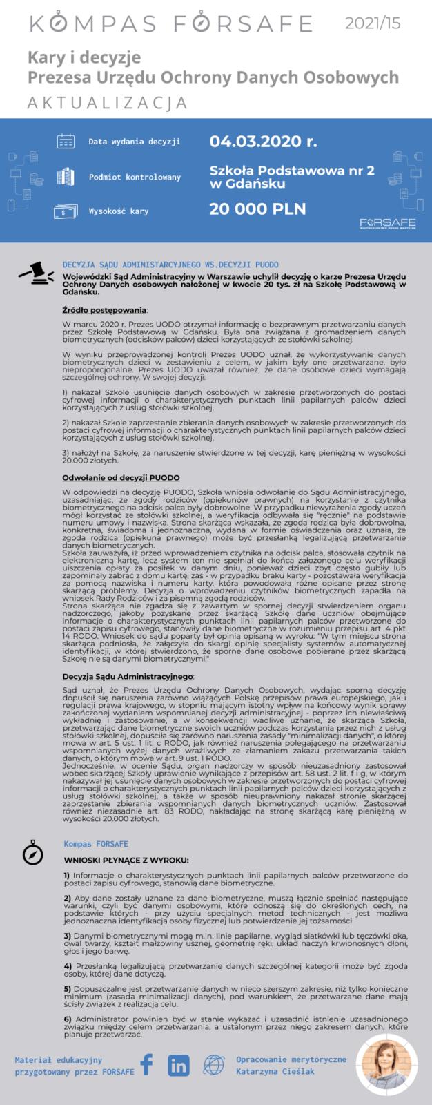 5Kompas FORSAFE PL 2021 15 1 KOMPAS FORSAFE PL 2021/15 - Wyrok Sądu ws. skargi Szkoły na decyzję PUODO