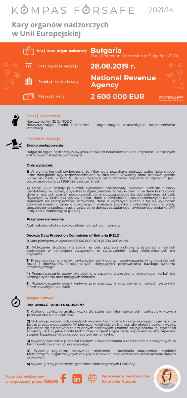 Kompas FORSAFE EU 2021 14 KOMPAS FORSAFE EU 2021/14 - Kara dla Narodowej Agencji ds. Dochodów w Bułgarii