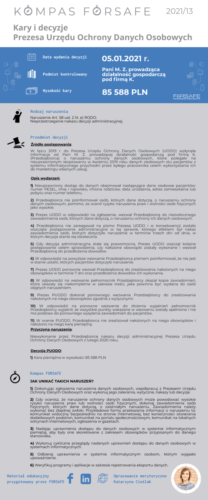 Kompas FORSAFE PL 2021 13 KOMPAS FORSAFE PL 2021/13 - Kara za lekceważenie nakazu PUODO