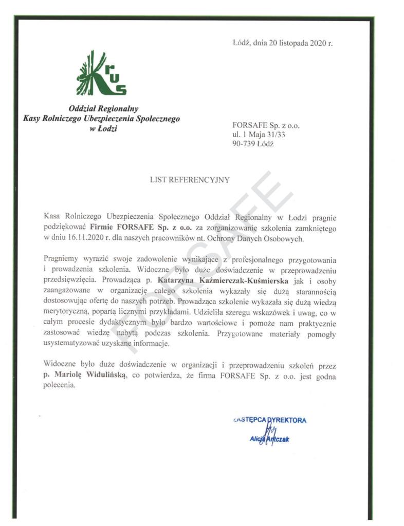 <p>Zorganizowanie i przeprowadzenie szkolenia z zakresu ochrony danych osobowych dla Pracowników łódzkiego oddziału KRUS. Szkolenie zostało przeprowadzone na platformie online z trenerem na żywo.</p>