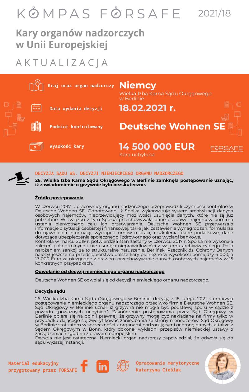 Kompas FORSAFE EU 2021 18 KOMPAS FORSAFE EU 2021/18 - Uchylenie kary dla Deutsche Wohnen