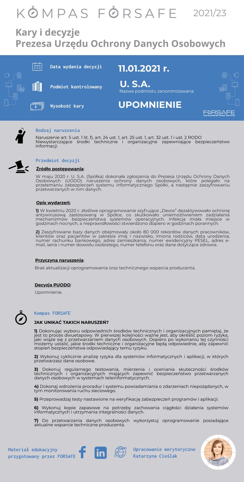Kompas FORSAFE PL 2021 23 KOMPAS FORSAFE PL 2021/23 - Upomnienie za naruszenie związane z brakiem aktualizacji ochrony antywirusowej