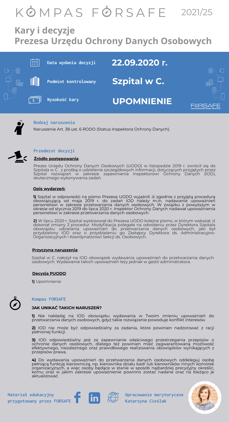 Kompas FORSAFE PL 2021 25 KOMPAS FORSAFE PL 2021/25 - Upomnienie za naruszenie statusu Inspektora Ochrony Danych