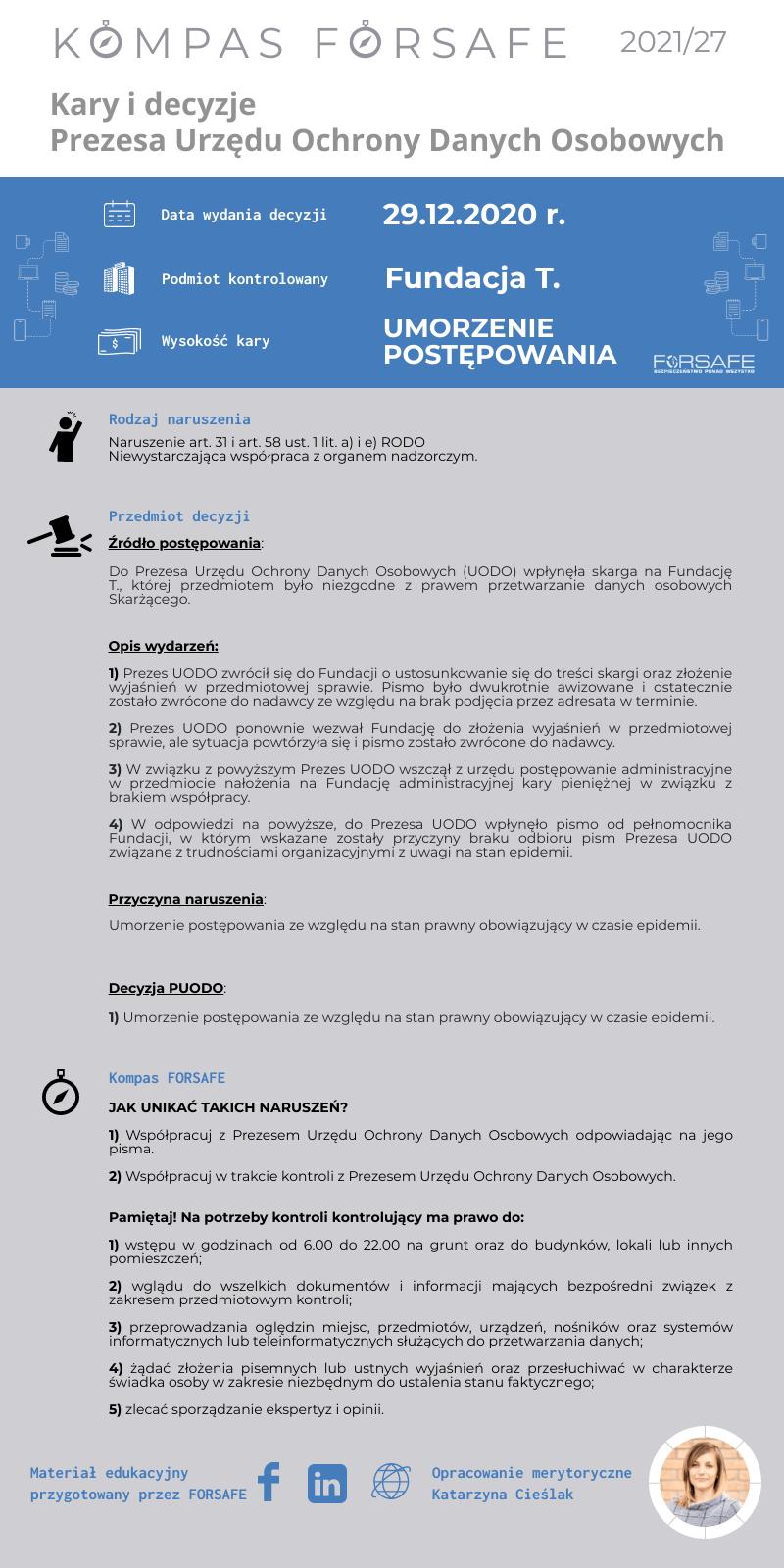 Kompas FORSAFE PL 2021 27 KOMPAS FORSAFE PL 2021/27 - Umorzenie kary dla Fundacji T.