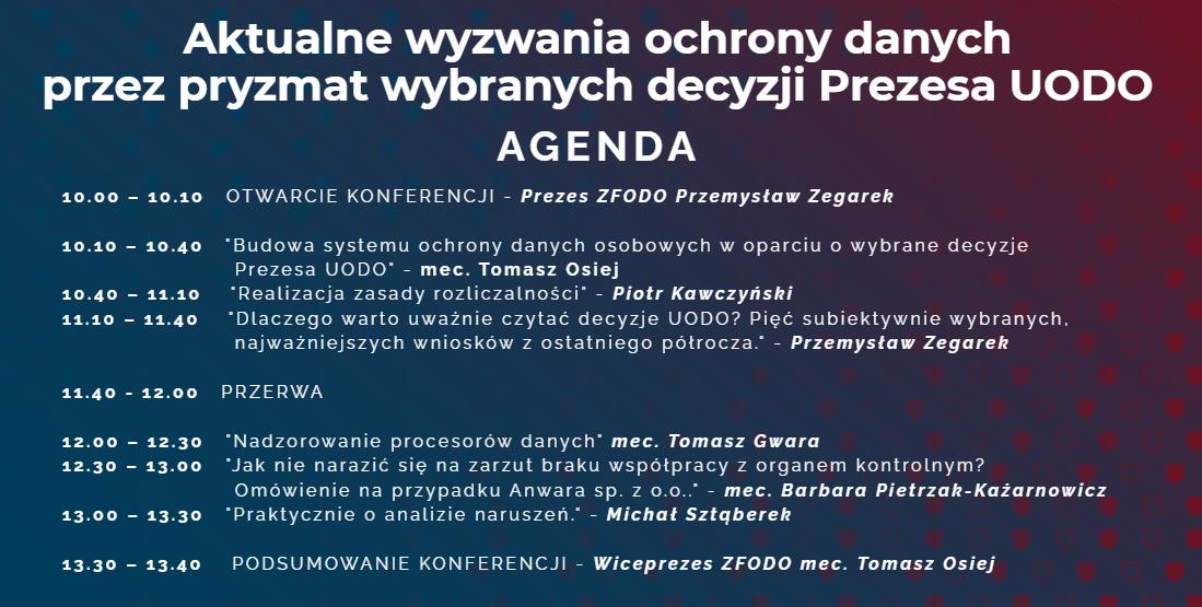 Agenda ZFODO Zapraszamy na bezpłatną Konferencję ZFODO z okazji trzeciej rocznicy obowiązywania przepisów RODO!