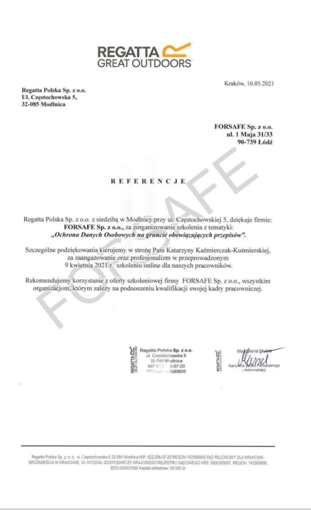 <p>Przeprowadzenie szkolenia dotyczącego ochrony danych osobowych na gruncie obowiązujących przepisów dla Pracowników spółki Regatta Polska. Szkolenie zostało przeprowadzone na platformie online z trenerem na żywo.</p>